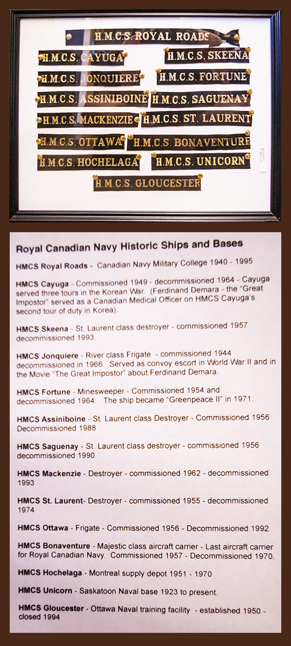 581503f28 COLLECTION OF NAVAL TALLEY BANDS: H.M.C.S. ROYAL ROADS, OTTAWA, CAYUGA,  SKEENA AND TEN OTHERS, MOUNTED AND FRAMED, 34.75 X 45 CM $120-180