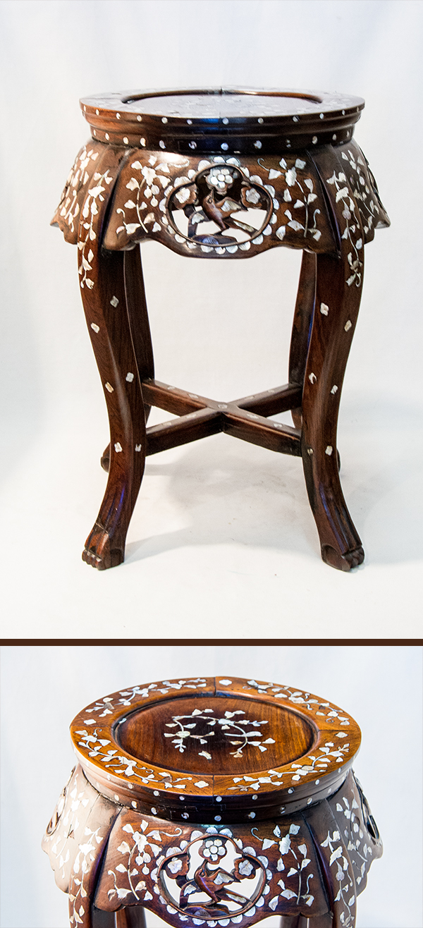 Pair Of Chinese Rosewood Mother Pearl Inlaid Round Side Tables 400 600