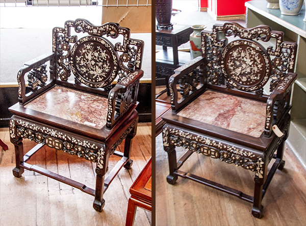 Pair Of Chinese Rosewood Mother Pearl Inlaid Throne Chairs 1500 2000