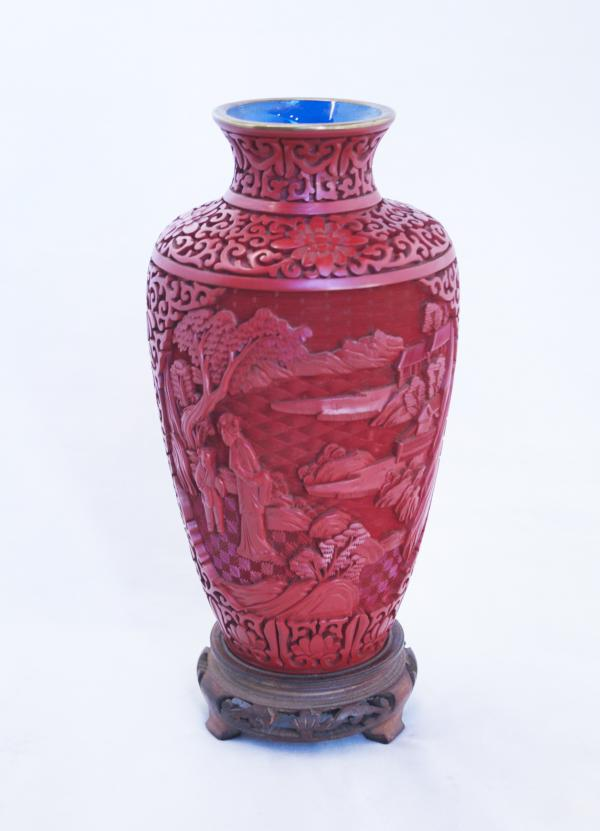 098a079d967 CHINESE CARVED CINNABAR LACQUER OVOID VASE