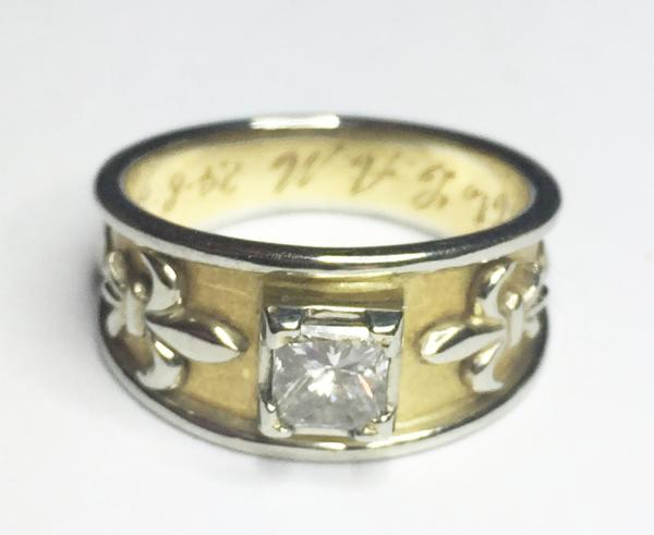 092b85b38 IDAR 18K YELLOW AND 19K WHITE GOLD RING BAND WITH 0.48 CT PRINCESS CUT  DIAMOND (VS1, G) FLANKED BY RELIEF FLEUR DE LIS, IN ORIGINAL BOX WITH  CONSIGNOR'S ...