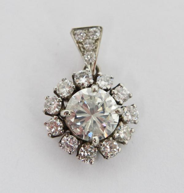 83b1800cd64fca 1.84 CT DIAMOND (I, I2) SET IN 14K WHITE GOLD PENDANT WITH DIAMOND SURROUND  AND BALE, WITH APPRAISAL $2500-3500